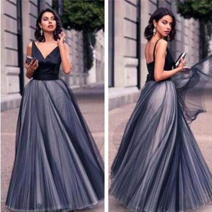 Navy Blue Prom Dress,Backless Prom ..