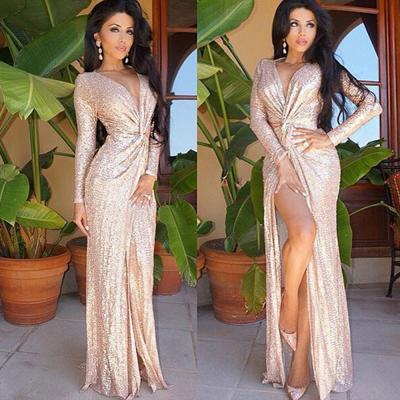 Rose Gold Knot Split Formal Evening Gowns Designer Long Sleeve Sequin Prom Dresses Sale
