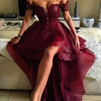Stylish burgundy lace high low prom dress,burgundy formal dresses