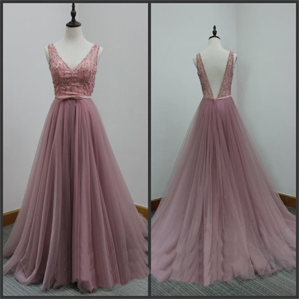 Beautiful Tull Handmade V-neckline Long Prom Dresses, Long Prom Dresses, Tulle Formal Gowns