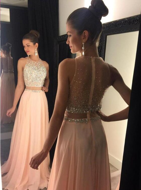 Prom Dress, Sleeveless Prom Dress, Light pink Prom Dress, A-line Prom Dress, Long Graduation Dress