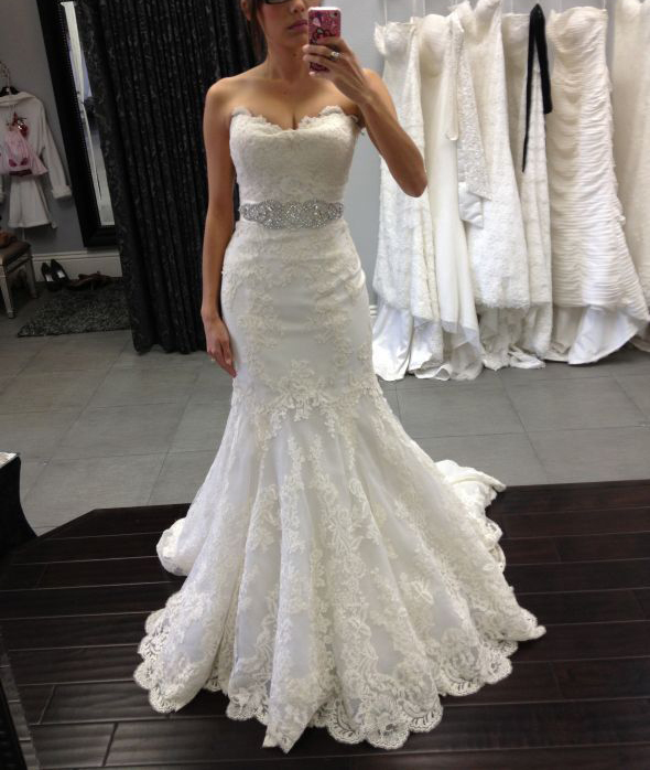 Lace Appliqués Sweetheart Floor Length Ruffled Mermaid Wedding Dress Featuring Beaded Embellished BeltWedding Dress,Wedding Dresses,Strapless Wedding Dresses,bridal dress 2017