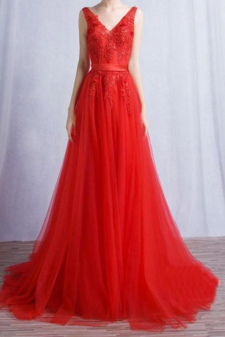 Prom Dress,Sleeveless Red A Line Evening Dress,Backless Charming Tulle Prom Dresses,Formal Gown,High Quality Graduation Dresses,Wedding Guest Prom Gowns, Formal Occasion Dresses,Formal Dress