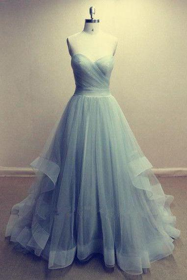 Tulle Sweetheart Floor Length Ruffled Formal Dress, Prom Dress