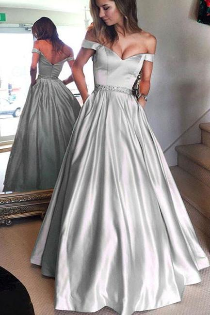 Cute Off Shoulder A Line Long Prom Dress,Gray Formal Dress