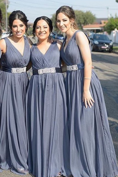 Grey Color Bridesmaid Dresses, Chiffon Bridesmaid Dresses, V Neck Double Straps Bridesmaid Dresses, Wedding Party Dresses