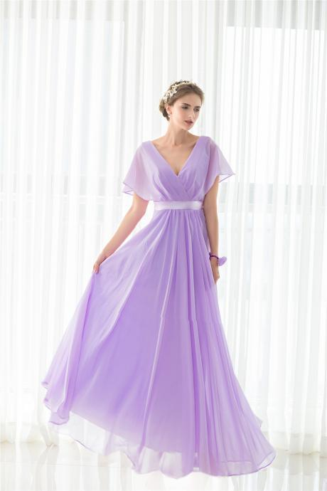 Lavender V Neckline Chiffon A Line Floor Length Guest Wedding Dress, Maid of Honor Dress