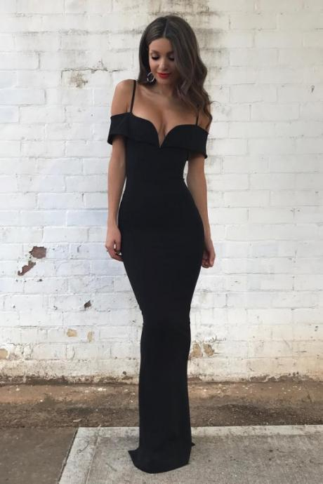 Sexy Black Mermaid Formal Dresses ,Cheap prom dresses 2017,Off-the-Shoulder Spaghettis Straps Evening Gowns