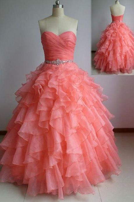Beautiful Coral Ball Gown Sweetheart Prom Dresses with Beadings, Coral Prom Dresses, Prom Dress 2017, Prom Gown, Sweet 16 Dress