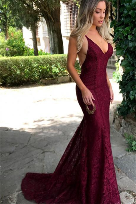 Amazing Lace Maroon Prom Dresses 2018, V Neck Spaghetti Strap Long Evening Dress, Lace Prom Dresss, Burgundy Lace Prom Evening Dress, Formal dresses