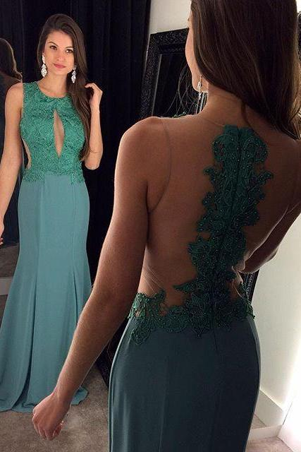 Green Prom Dresses,Backless Prom Dress,Lace Prom Dress,Backless Prom Dresses,2017 Formal Gown,Open Back Evening Gowns,Open Backs Party Dress,Sexy Prom Gown For Teens