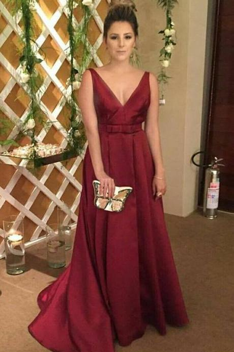 Simple Elegant Long Evening Dress, Burgundy Prom Dresses, Sexy Backless Prom Dresses, Woman Formal Dresses, Long Dress for Weddings