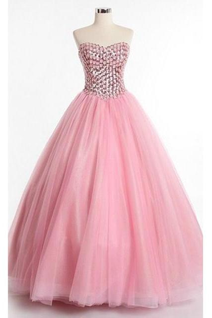Strapless Sweetheart Beaded Floor-Length Tulle Princess Ball Gown, Prom Dress, Pageant Dress