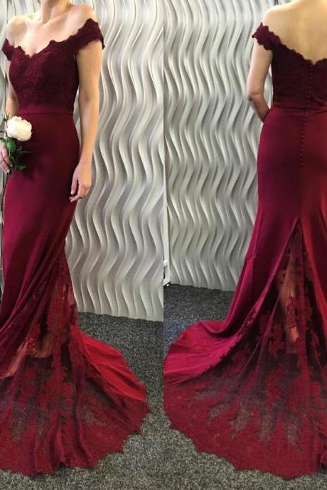 burgundy formal dresses,burgundy bridesmaid dresses,mermaid prom dresses 2017,lace appliques