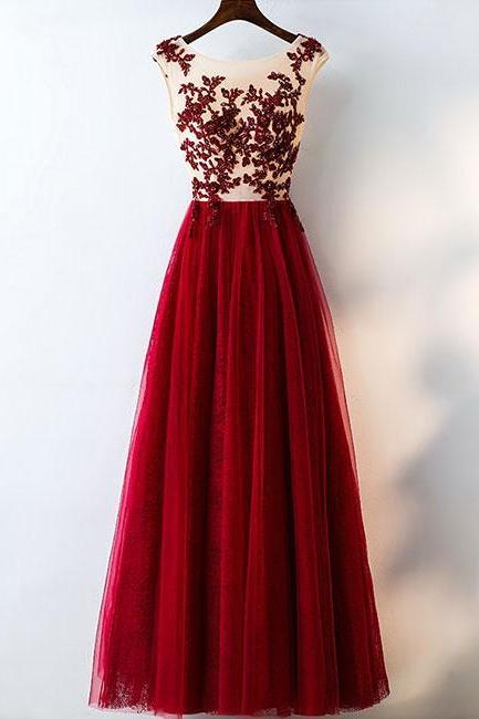 BURGUNDY ROUND NECK TULLE LACE LONG PROM DRESS