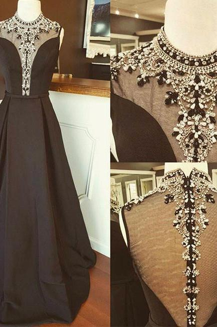 Black Long Prom Dress,Black High Neck Sequin Long Prom Evening Dress