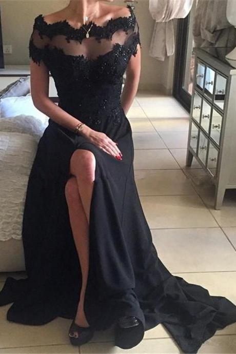 Off Shoulder Prom Dresses, Black Lace Prom Dresses, High Quality Beaded Prom Dresses, Side Slit Prom Dresses, Popular Prom Dresses, Cheap Prom Dresses,