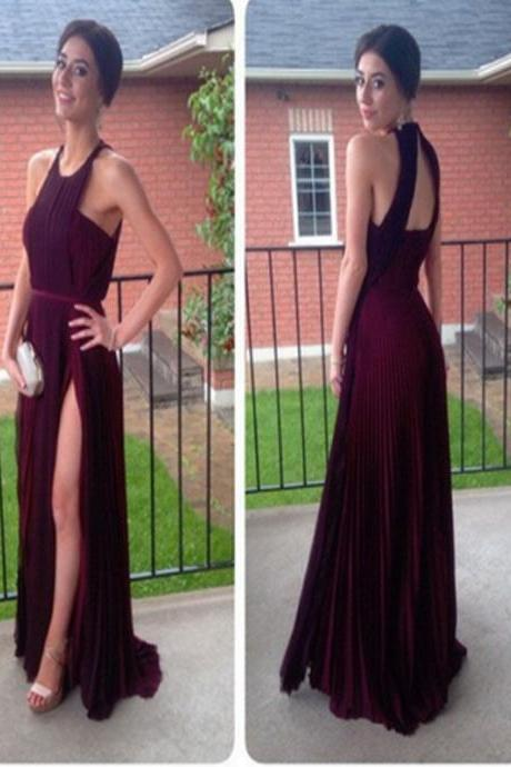 Long prom Dress, Burgundy prom dress, Chiffon Prom Dress,Halter Prom Dress,A-Line Prom dress,Elegant prom dress, Evening Prom Gown