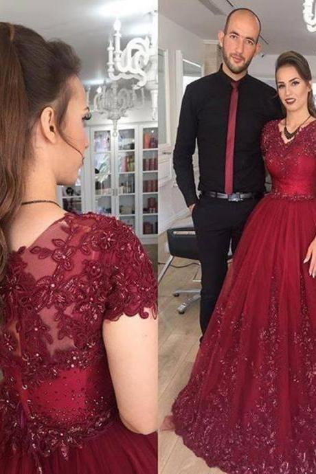 burgun a line evening dress ,Short Sleeves Prom Dress,long prom dress,burgundy prom dress