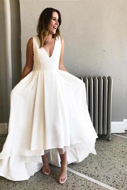 Simple V-Neck High Low Party Dress,Sleeveless White Prom Dress,2018 Homecoming Dress