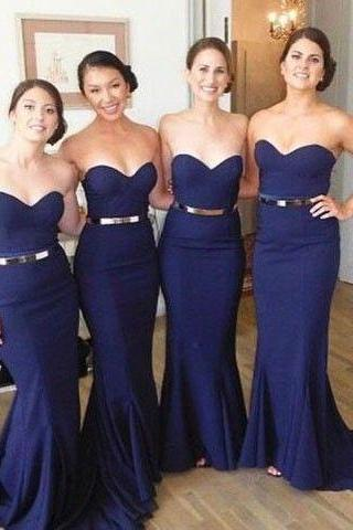 Navy Blue Mermaid Prom Dress,Sweetheart Prom Dress,Long Prom Dress,Formal Dress,Women Dress,Bridesmaid Dress