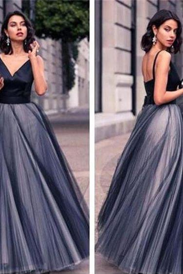 Navy Blue Prom Dress,Backless Prom Dress,Fashion Prom Dress,Sexy Party Dress,Custom Made Evening Dress