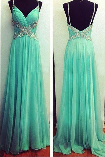 Chiffon Ruched Plunge V Spaghetti Straps Floor Length A-Line Prom Dress Featuring Beaded Embellishments and Open Back
