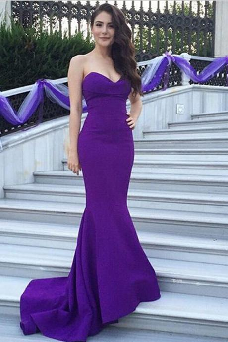 Prom Dress, Purple Prom Dress, Sweetheart Prom Dress, Mermaid Prom Dress, Floor-length Prom Dress, Sleeveless Prom Dress, Sexy Prom Dress,