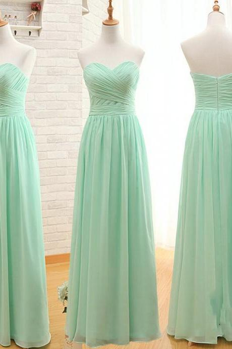 Prom Dress,Mint Green Strapless Prom Dress, Bridesmaid Dress 2017 sweetheart evening dress ,long evening dress