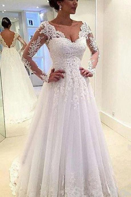 Lace Appliques Long Mesh Sleeves Floor Length Tulle Wedding Gown Featuring Plunge V Back and Train