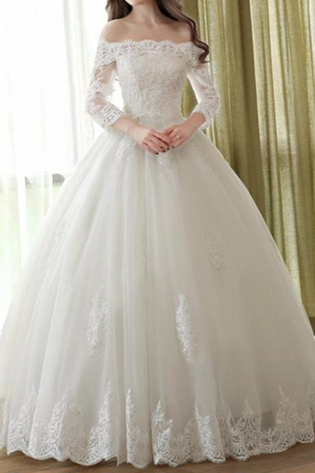 Off-the-Shoulder Lace Appliqués Ball Gown Wedding Dress with 3/4 Sleeves