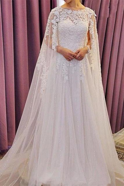 Floral Lace Appliques Sweetheart Floor Length Tulle A-Line Wedding Dress Featuring Cape