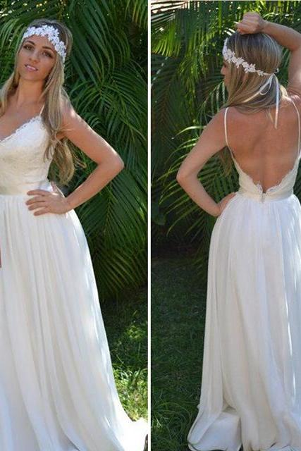 Romantic Lace and Chiffon Wedding Dress,Lace Wedding Dress,Long Wedding Dress,Sexy Wedding Dress,Beach Wedding Dresses,Sexy Backless Wedding Dress,Spagheeti Straps Wedding Dress