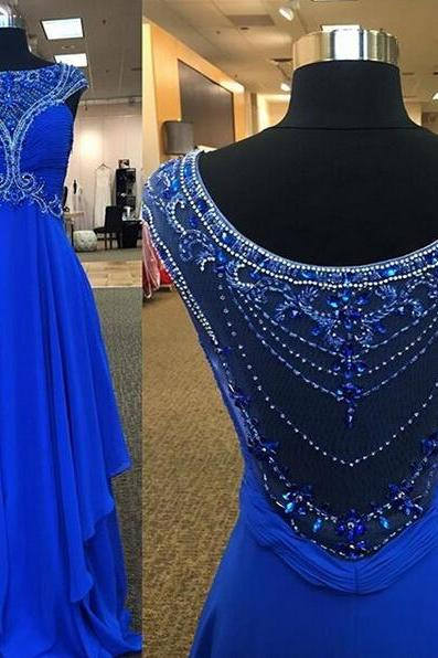 Blue Beaded Ruched Chiffon A-line Long Prom Dress, Evening Dress Featuring Sheer Beaded Back