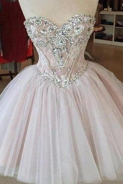 Beaded Embellished Sweetheart Short Tulle Homecoming Dress, Formal Dress