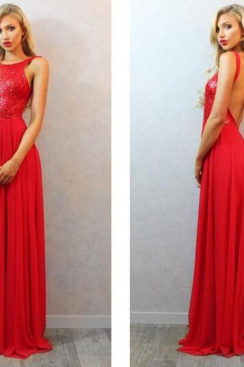 Open Back Prom Dresses,Red Sequins Evening Dress,Sexy Backless Formal Party Dresses,Cheap Graduation Dresses
