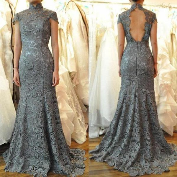 Cheap prom dresses 2017,Mandarin Collar Gray Lace Formal Occasion Dress with Open Back