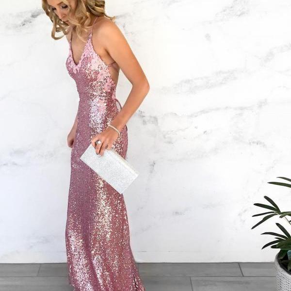 Sequins V Neck Prom Dresses Mermaid Sexy Long Sleeveless Evening Dresses Backless Formal Gowns Appliques Party Pageant Dresses with Train