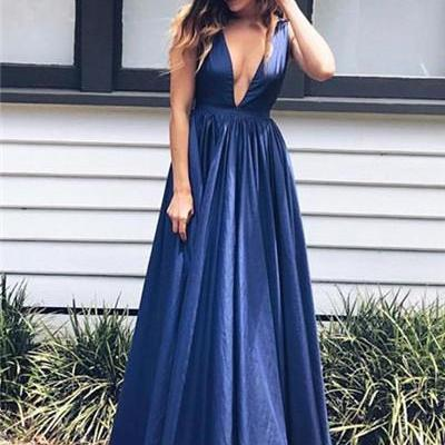 Royal Blue Taffeta Prom Dresses A-line Long Evening Dresses Deep V Neck Formal Gowns Sexy Party Pageant Dresses