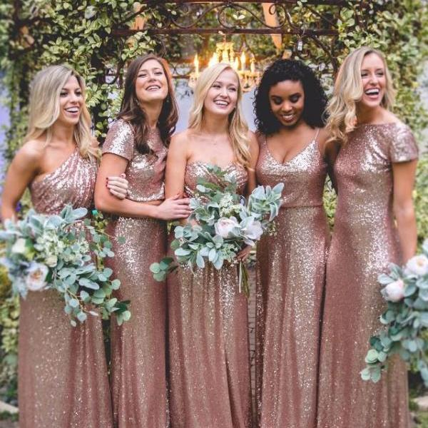 Elegant A-Line Rose Pink Sequined Bridesmaid Dress with Pleats,Long Bridesmaid Dresses for Bridal Party