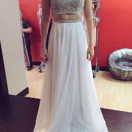 Two Piece Prom Dress,Chiffon Prom Dress,Sequins Prom Dress,White Prom Dress