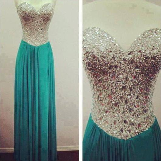 Green Prom Dress, Sweet Heart Prom Dress, Rhinestone Prom Dress, Formal Prom Dress, Sparkly Prom Dress, Evening Dress